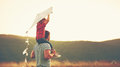 Happy Family Father And Child On Meadow With A Kite In Summer Royalty Free Stock Photo - 74155395