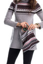 Lady In Long Gray Sweater. Royalty Free Stock Photo - 74157395