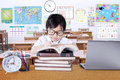 Elementary School Student Writes On The Book Stock Photography - 74162892