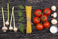 Ingredients. Tomatoes, Pasta, Garlic, Basil, Champignon And Salt. Royalty Free Stock Images - 74170869