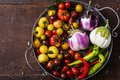 Closeup Of  Metallic Basket With Fresh Vegetables Stock Photography - 74173582