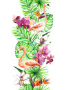 Tropical Leaves, Flamingo Bird, Orchid Flowers. Seamless Border. Watercolor Frame Royalty Free Stock Photos - 74174788