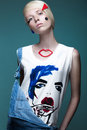 Fashionable Girl: Natural Make-up, Clothes With Picture In Style Of Pop Art. Creative Image. Beauty Face. Stock Image - 74184931