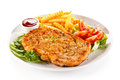Fried Pork Chop And French Fries Stock Photo - 74186650