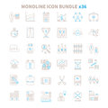 Mono Line Vector Icon Bundle 36 Items Stock Image - 74190061