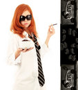 Young Red-haired Girl And Coffee Royalty Free Stock Photography - 7428477