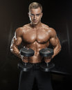 Handsome Athletic Guy Workout With Dumbbells Royalty Free Stock Photos - 74216418
