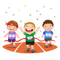 Vector Illustration Of Boys On A Race Track On A White Background Royalty Free Stock Photography - 74218767