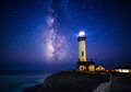 Milky Way At Pigeon Point Lighthouse, Pescadero, California Royalty Free Stock Photos - 74225258