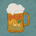 Tankard Pint Glass Or Glassware Goblet, Mug Or Jug With Cold Beer And Foam At Bar, Letters That Says Fresh Beer For Best Royalty Free Stock Images - 74233209