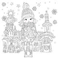 Vector Cute Girl In Winter Hat With Christmas Gift Stock Image - 74234001