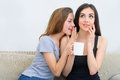 Two Happy Friends Talking And Drinking Coffee And Tea And Gossiping Royalty Free Stock Image - 74240966