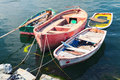 Old Small Wooden Fishing Boats Moored In Port Royalty Free Stock Photography - 74243637