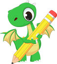 Cute Green Dragon With Pencil Stock Image - 74248751