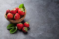 Fresh Garden Strawberry In Bowl Stock Photos - 74249763