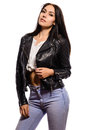 Glamorous Young Woman In Black Leather Jacket On White Background Royalty Free Stock Images - 74250469