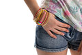 Lady S Hand On Shorts Pocket. Royalty Free Stock Image - 74260306