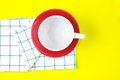 Top View Of Empty White Coffee Or Tea Cup With Red Dish And Towe Stock Photos - 74270023