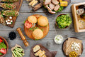 Different Burgers, Steak And Grilled Vegetables Stock Photography - 74271352