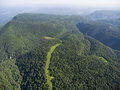 The Mountain Ridge Covered Forest. The Road In The Forest. Mount Stock Image - 74286221