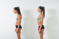 Woman With Impaired Posture Position Defect Scoliosis And Ideal Bearing Royalty Free Stock Image - 74290596