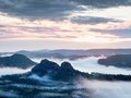 Summer Sunrise Forest After Heavy Rain. Beautiful Mountain Within Inversion. Royalty Free Stock Photography - 74302747