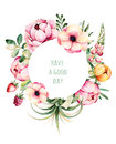 Beautiful Watercolor Round Frame Border With Peony,field Bindweed,branches,lupin,air Plant,strawberry. Stock Photo - 74303800