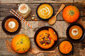 List Of Pumpkin Dishes. Pumpkin Latte; Pumpkin Stuffed With Meat Stock Images - 74306814