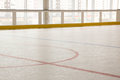 Red Line On Hockey Rink. Face Off Circle. Modern Empty . Front View From Ice Royalty Free Stock Image - 74314956