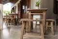 Wood Table And Chair Royalty Free Stock Image - 74323636