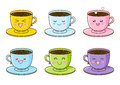 Set Of Cute Cups Of Coffee Stock Photo - 74337890
