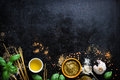 Food Frame, Italian Food Background, Healthy Food Concept Or Ingredients For Cooking Pesto Sauce On A Vintage Background Royalty Free Stock Photography - 74349277