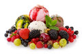 Mixed Ice Cream With Fruits Isolated . Royalty Free Stock Image - 74352496