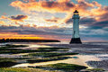 Perch Rock Lighthouse At Sunset Stock Images - 74364344
