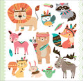 Cute Tribal Animals Royalty Free Stock Photo - 74366735
