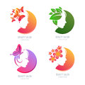 Vector Beauty Logo, Label Set. Female Face In Circle Shape. Royalty Free Stock Images - 74373479