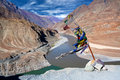 Confluence Of Zanskar And Indus Rivers In Ladakh, India Royalty Free Stock Photos - 74376578