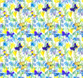 Flowers And Butterflies. Watercolor Floral Seamless Pattern. Watercolour Stock Photography - 74404792