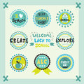 Welcome Back To School Blue Cute Circle Emblems And Labels Set Royalty Free Stock Photography - 74414077
