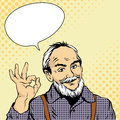 Old Man Shows OK Hand Sign. Vector Illustration In Retro Comic Pop Art Style. Design Elements And Stickers Royalty Free Stock Image - 74415866