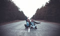 Boy And Girl On A Road Royalty Free Stock Photography - 74415997