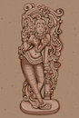 Vintage Statue Of Indian Female Sculpture Royalty Free Stock Image - 74418186