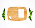 Wooden Cutting Board And Paper With Decoration. Royalty Free Stock Image - 74444246