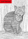 Cat S Book. Colorized Patterns Cat Sits And Looks Seriously Royalty Free Stock Image - 74450276