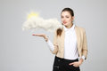 Young Woman And Sun Shining Out From Behind The Clouds, Cloud Computing Or Weather Concept Stock Photos - 74450573