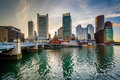 The Downtown Skyline At Sunset, Seen From Fort Point In Boston, Royalty Free Stock Photography - 74467107