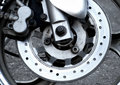 Wear Brake Disc On The Front Wheel Of Motorcycle Royalty Free Stock Images - 74468329