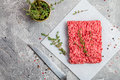 Minced Meat With Seasoning And Fresh Thyme Royalty Free Stock Image - 74480946
