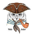 Portrait Of Owl In Sailor Hat And With Tobacco Pipe. Vector Illustration. Royalty Free Stock Images - 74481599
