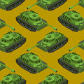 Tank Isometric Seamless Pattern. Army Machinery Texture. Armored Stock Image - 74489601